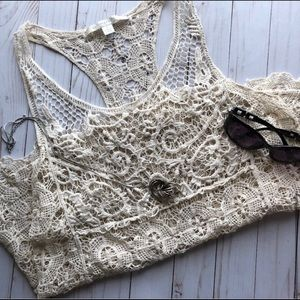 Crochet cream tank